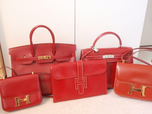 Red Hermes bags of every shape and size