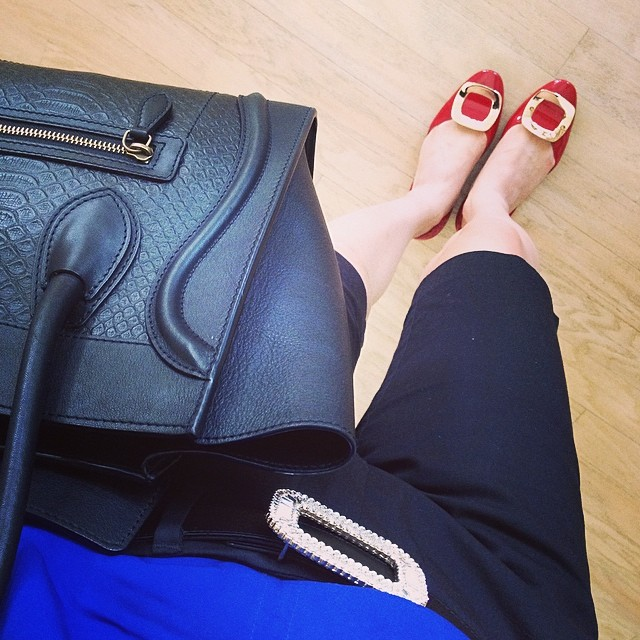 Casual but luxe in Celine and Roger Vivier