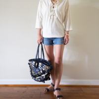 Wearing Lately - Lace Up Tee and White Dress